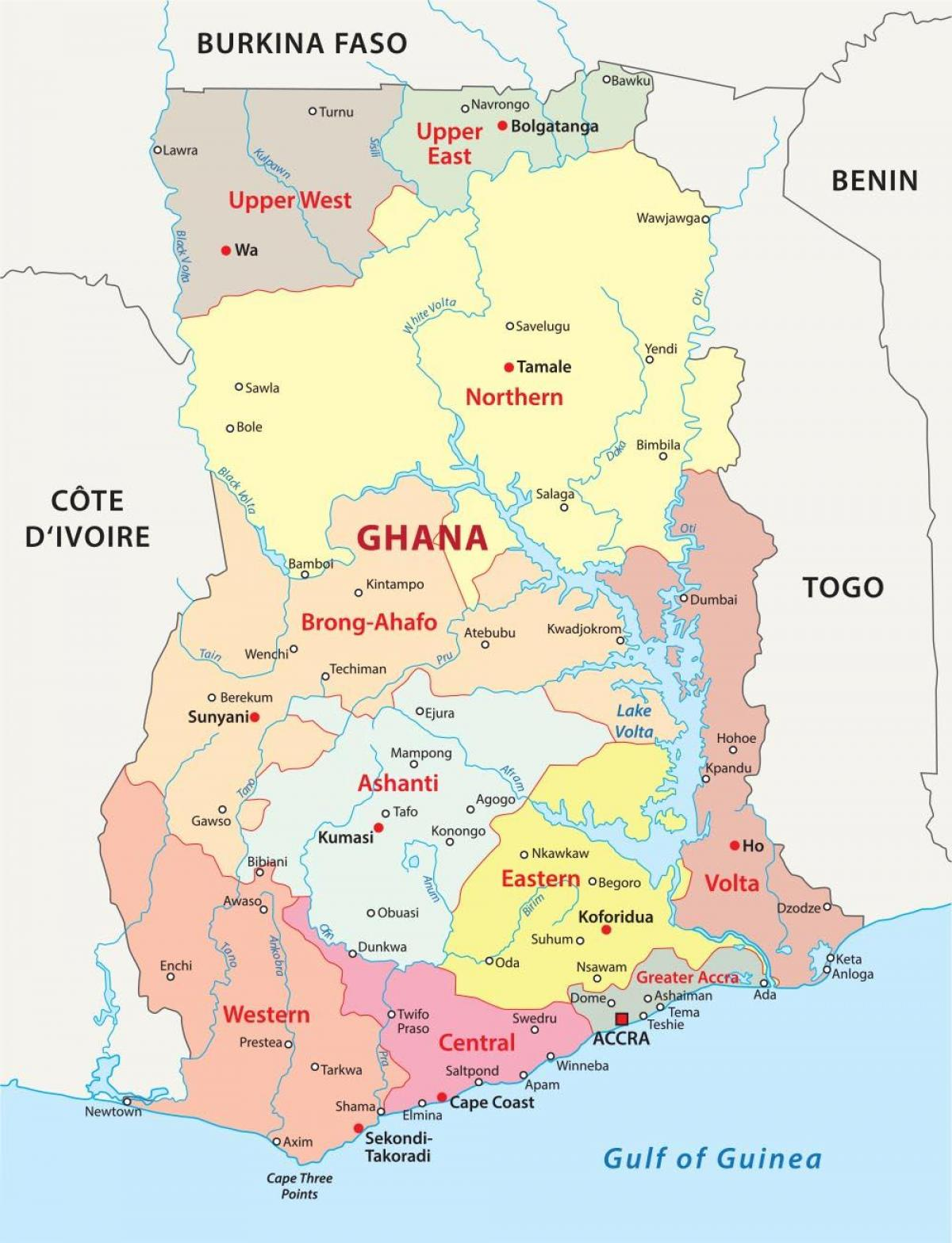 map of ghana showing districts