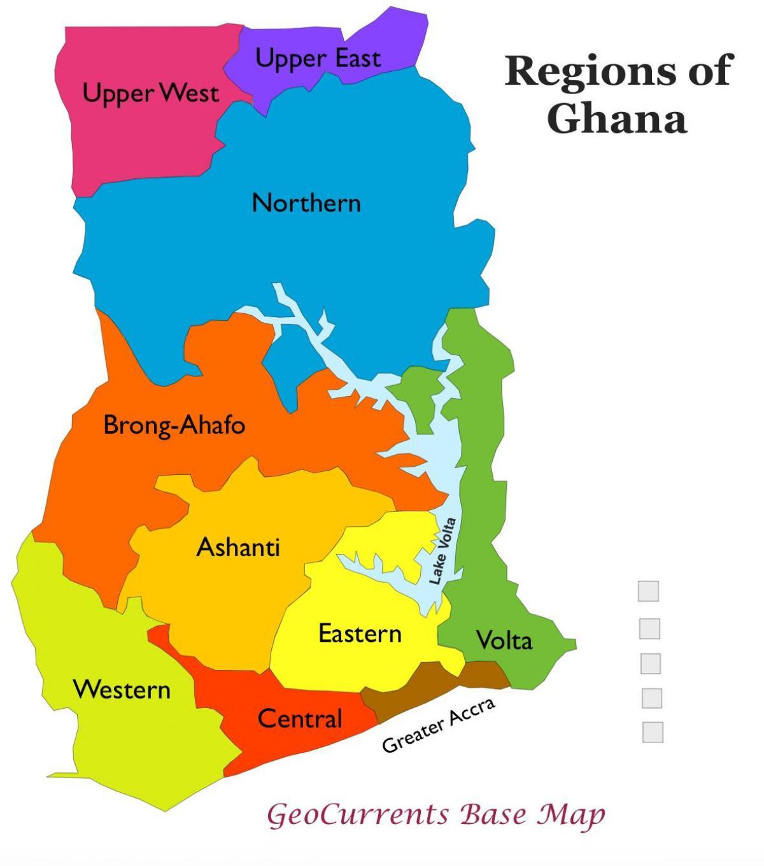 Ghana map with regions - Map of ghana showing regions (Western ...