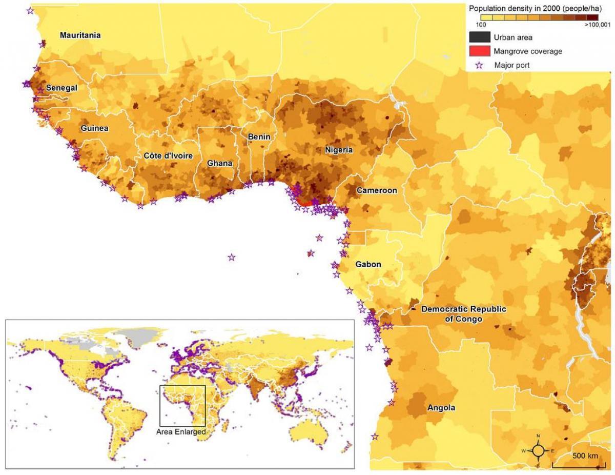 Ghana population map   Ghana population density map (Western