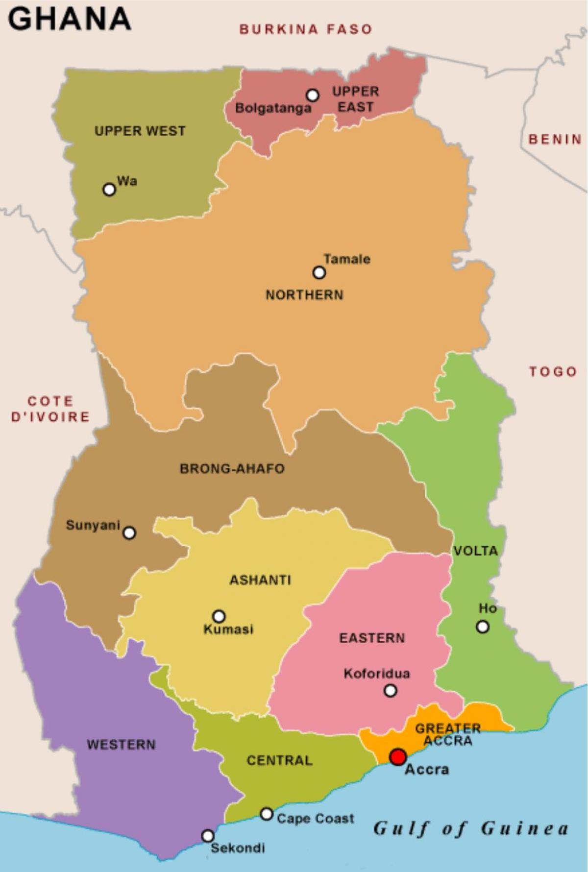 Ghana regions map - Ghana map and regions (Western Africa ...