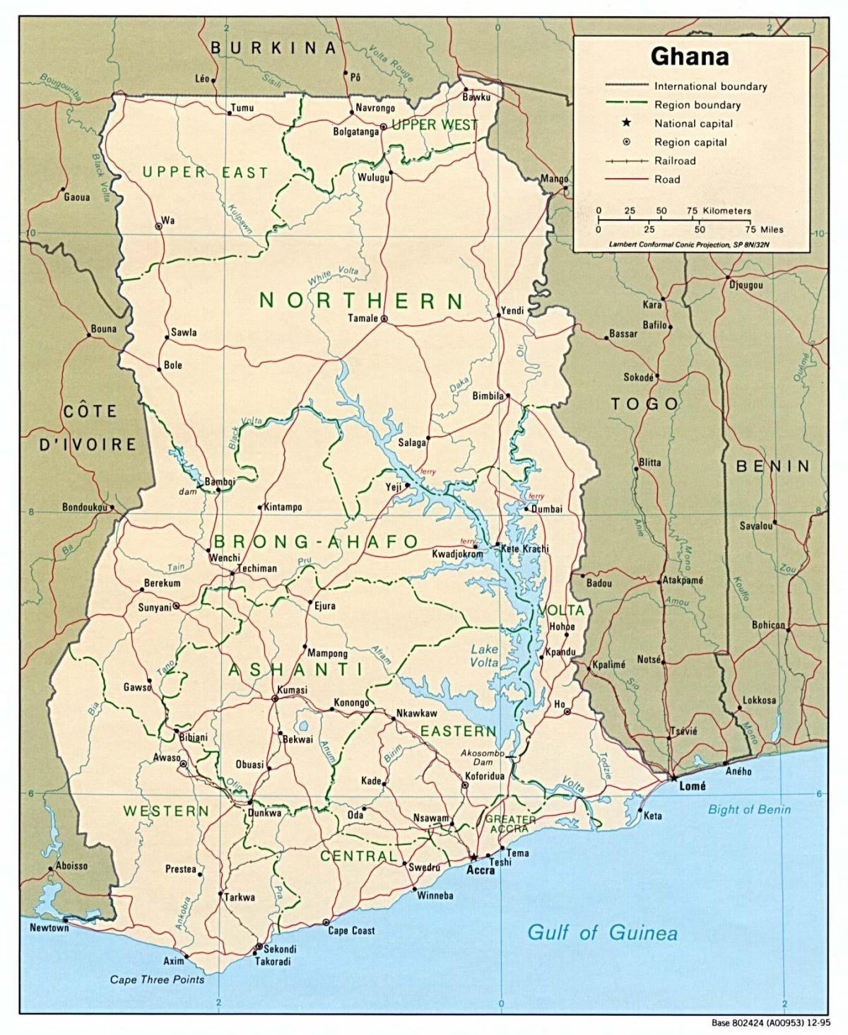 ghana map with cities and towns
