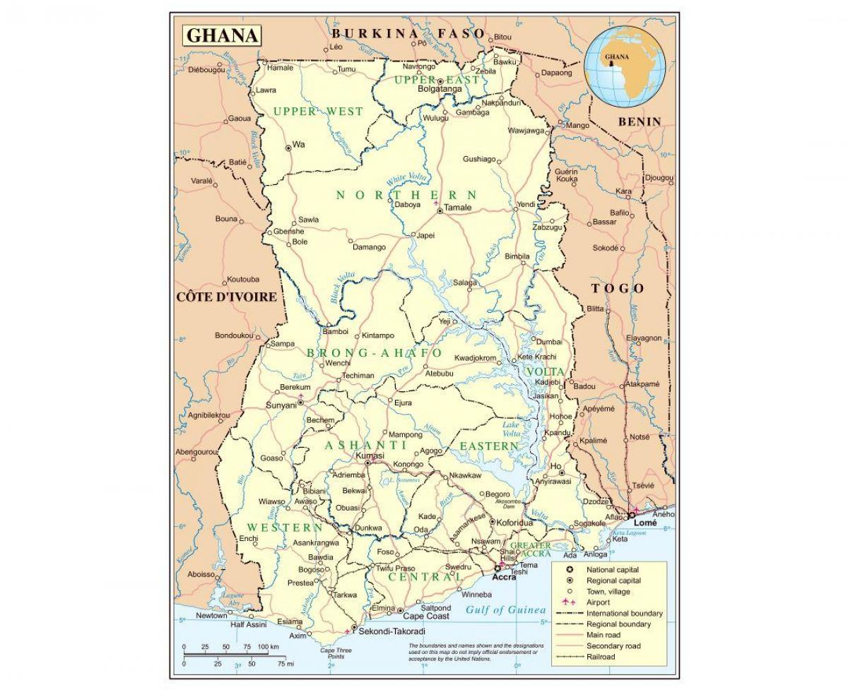 The map of ghana - Administrative map of ghana (Western Africa - Africa)